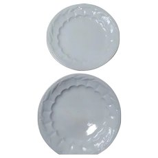 2 White Ironstone Wheat Pattern Dinner Plates C1844