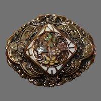 Antique Enameled Floral Gold Brooch GF 1890-1915