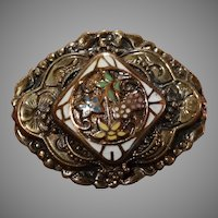 Antique Enameled Floral Gold Brooch GF 1890-1915