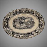 Black Transferware Adams Pearlware Platter 1830-1850