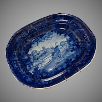 Platter Adams C1804-40 Blue Transferware Staffordshire Pottery