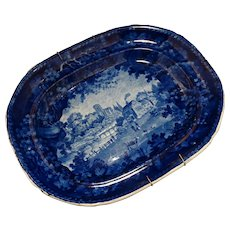 Platter Adams C1804-40 Blue Transferware Staffordshire Pottery