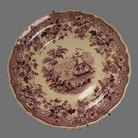 Davenport Staffordshire Pearlware Transferware Plate Circa 1850