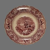 "Adams Staffordshire Caledonia Pattern Transferware 11"" Bowl 1850s"