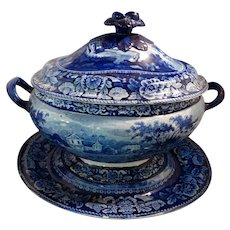 Monumental Covered Tureen & Platter Blue Transferware Set Staffordshire 19thC