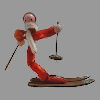 Chenille Pipe Cleaner Santa Skier Christmas Ornament Mid Century