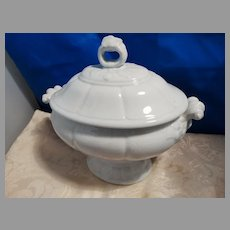 Antique Petite White Ironstone Covered Tureen