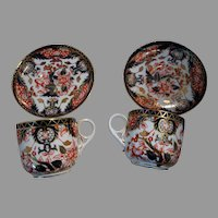 4 Imari Royal Crown Derby Porcelain Demitasse Cup Saucer Set