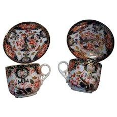 4 Imari Royal Crown Derby Porcelain Demitasse Cup Saucer Set
