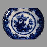 "English Staffordshire Flow Blue Deep Soup Bowl ""Oregon Pattern"""
