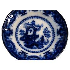 "English Staffordshire Flow Blue Deep Soup Bowl ""Oregon Pattern"""