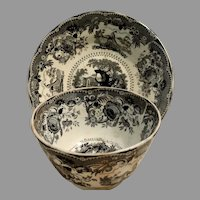 1780-1820 Staffordshire Black Transferware Handleless Cup & Deep Saucer