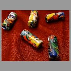 5 Antique Venetian Long Bugle Trade Beads