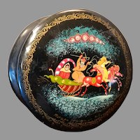Vintage Russian Lacquer Box Mstera Artist Signed Sleigh Scene