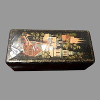 Early Russian Lacquer Box Village Scenic Kholui School Signed Artist Pyatkova