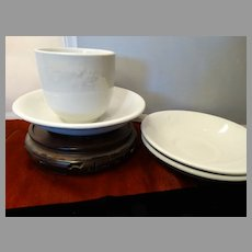 Circa 1810-1820s Early White Ironstone Handleless Cup with 3 saucers