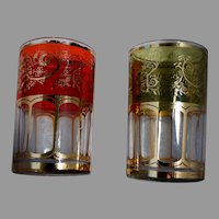 Korean Art Glass Bar Ware Juice Tumblers Gold Stencil & Foil