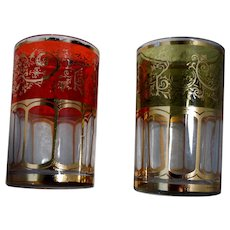 Korean Art Glass Bar Ware Juice Tumblers Gold Stencil & Foil