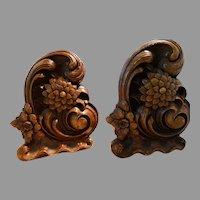 Mid Century Bookends Syroco Wood Rococo Revival