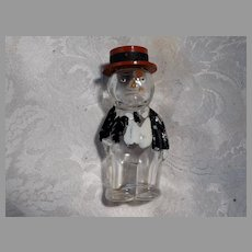 Mr Monopoly Figural Glass Candy Container Vintage