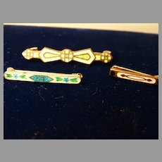 3  Small Art Deco Lace Bar Pins 2 Luminous Guilloche Enamel 1 Enameled Bar Pin Brooch
