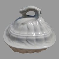 Scarce White Ironstone Fancy Covered Soap Dish