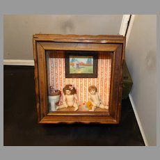 Doll House Wall Mount Vignette Artist Signed Dolls Potty & Miniature Painting