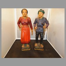 Wood Carvings Pair Couple Indonesia Warrior Polychrome Exquisite