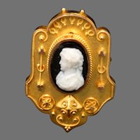 Etruscan 14K Gold Cameo Brooch Hair Locket Antique