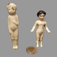 2 Antique Porcelain Frozen Charlotte Miniatures