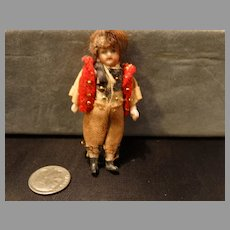 Antique Miniature Bisque French Doll Boy Doll 2.5""