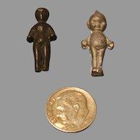 2 Tiny metal miniatures Black Frozen Charlotte  Doll Silver Kewpie Doll