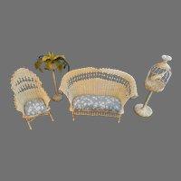 Mid Century Miniature Dollhouse Wicker Furniture 4PC