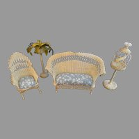 Mid Century Miniature Dollhouse Wicker Furniture 4PC