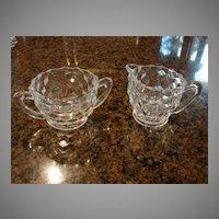 "Fostoria Glass American 2 ¾"" Creamer And 2 ¼"" Sugar Set"