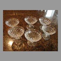 "6 Fostoria Glass American 3 ¼"" Stem Sherbet Goblets"