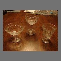 Fostoria Glass American 3 Piece Mixed Stems Sherbet Cocktail Dessert