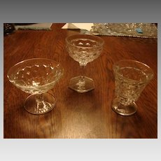 Fostoria Glass American 3 Piece Mixed Stems Sherbet Cocktail Dessert
