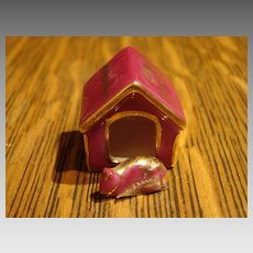 Miniature Limoges Castel Mini Dog House & Dog Chein Mechant