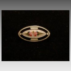 Enameled Sterling Silver Brooch Pin Classic Art Deco