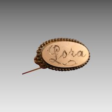 Rococo Art Nouveau Antique Hat Pin Gold Monogram Plate Gold Filled