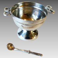 Handcrafted Sterling Silver Miniature Punch Bowl w Punch Ladle Heirloom