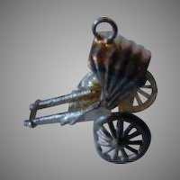 Sterling Silver Miniature Mechanical Rick Shaw Cart Charm