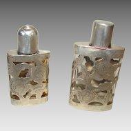 2 Sterling Silver Overlay Rose Perfume Bottles 1950 Artist Signed