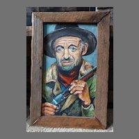 """The Cowboy"" Original Oil Painting Barbara Gardner Folk Western Art"