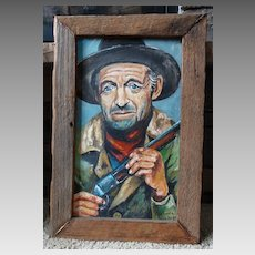 """The Cowboy"" Original Oil Painting Barbara Gardner Folk Western Art"