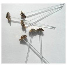 Scarce Mid Century Brass Cowboy Hat Glass Swizzle Sticks Set Breweriana Collectible6