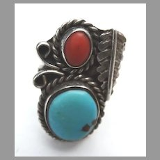 Turquoise Carnelian  Silver Ring Old Pawn Native American