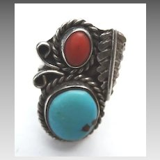 Old Pawn Native American Turquoise Carnelian Silver Ring