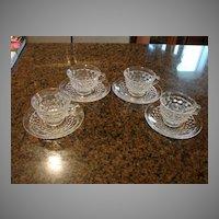 Fostoria Glass American 4 Coffee Cups & Saucers Sets
